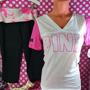 PINK Victoria's Secret Vneck Tee & Crop Leggings